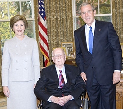 President George W. Bush and Laura Bush with Ollie Johnston